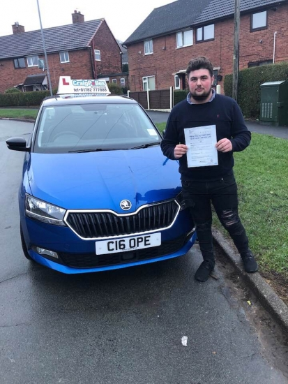 A big congratulations to Levi Sherwood, who has passed his driving test today at Cobridge Driving Test Centre.<br /> First attempt and with just 3 driver faults.<br /> Well done Levi - safe driving from all at Craig Polles Instructor Training and Driving School. :)<br /> Instructor-Stephen Cope