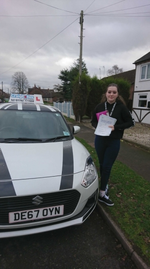 A big congratulations to Sasha Slight, who has passed her driving test at Crewe Driving Test Centre, with just 4 driver faults.<br /> Well done Sasha- safe driving from all at Craig Polles Instructor Training and Driving School. 🙂🚗<br /> Instructor-John Breeze