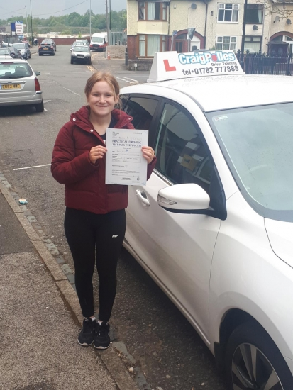 A big congratulations to Rebecca Hargreaves, who has passed her driving test today at Cobridge Driving Test Centre, on her First attempt and with just 1 driver fault.<br /> Well done Rebecca- safe driving from all at Craig Polles Instructor Training and Driving School. 🙂🚗<br /> Instructor-Gareth Butler