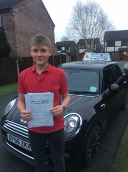 A big congratulations to Alex Pargeter, who has passed his driving test today at Newcastle Driving Test Centre, at his First attempt and with just 5 driver faults.<br />