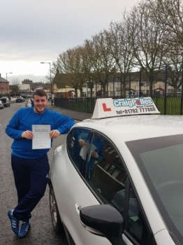 A big congratulations to Dom Casey, who has passed his driving test today at Cobridge Driving Test Centre, with 6 driver faults.<br /> <br /> Well done Dom - safe driving from all at Craig Polles Instructor Training and Driving School. 🚗😀