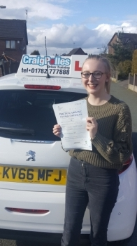 A big congratulations to Emily Moore, who has passed her driving test at Cobridge Driving Test Centre, with just 5 driver faults.<br /> Well done Emily - safe driving from all at Craig Polles Instructor Training and Driving School. 🚗😀- Instructor Dave Wilshaw