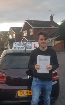 A big congratulations to James Moorehouse, who has passed his driving test today at Cobridge Driving Test Centre, at his First attempt and with just 1 driver fault.<br /> <br /> Well done James - safe driving from all at Craig Polles Instructor Training and Driving School. 🚗😀