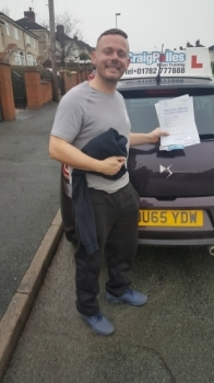 A big congratulations to John Westwood, who has passed his driving test today at Cobridge Driving Test Centre, at his First attempt and with just 5 driver faults.<br />