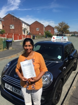 A big congratulations to Moncy Baby, who has passed her driving test today at Buxton Driving Test Centre, with just 4 driver faults.<br />