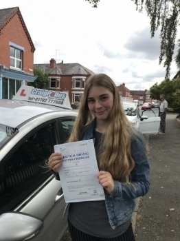 A big congratulations to Vyrnwy Benson, who has passed her driving test toady at Crewe Driving Test Centre,<br />