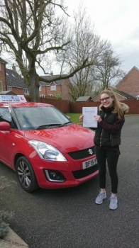 A big congratulations to Zeta Bagguley, who has passed her driving test today at Crewe Driving Test Centre, at her First attempt and with 8 driver faults.<br />