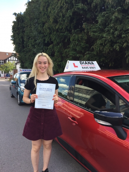 Diana always explained things carefully making sure I understood fully and was extremely patient with me when I made mistakes or didn't understand at first She has transformed me into a confident and good driver who passed first time Thank you Diana for everything