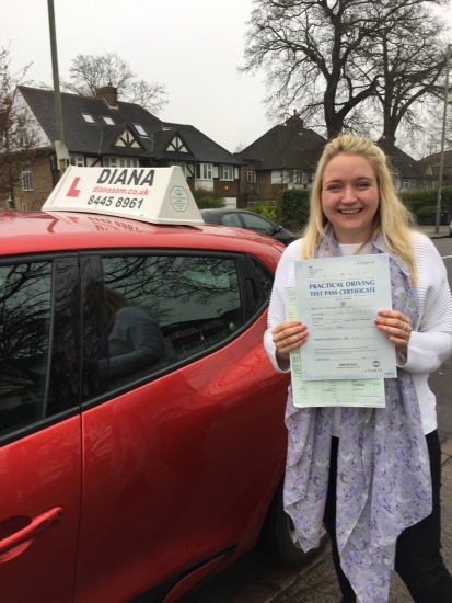 Thank you so much Diana for helping me pass my driving test Diana is a brilliant driving instructor Her kindness and fantastic teaching helped me gain confidence with my driving and pass my driving test first time I cannot recommend Diana enough she is simply brilliant