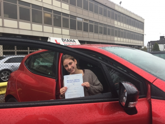 Diana is a brilliant driving instructor who helped me even a self- proclaimed lost cause pass my driving test Thanks to her I overcame my fears of driving and she has made me a confident driver Can't thank her enough and would highly recommend