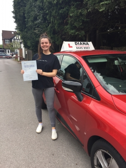 thank you so much diana! you made me feel confident and comfortable driving and i could never have done it without you! can´t recommend you enough! Thanks so much! xx
