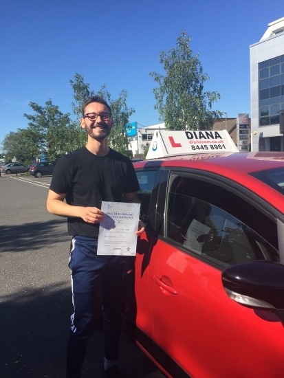 ´I want to say a massive thank you to Diana for all her help and support. She was very patient with me and prepared me well for all aspects of the driving test. I would highly recommend Diana if you are looking for a great driving instructor, thanks again!´<br /> <br /> Regards, <br /> Alex