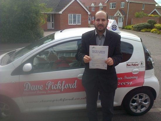 Congratulations to Majed who passed his Automatic Driving Test at Norwich MPTC Well Done Stay Safe
