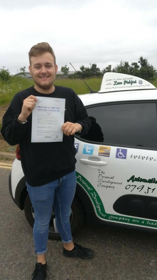 Congratulations to Kieran who passed his Automatic Driving Test this morning at #Norwich in #Bumble #TPDC<br />