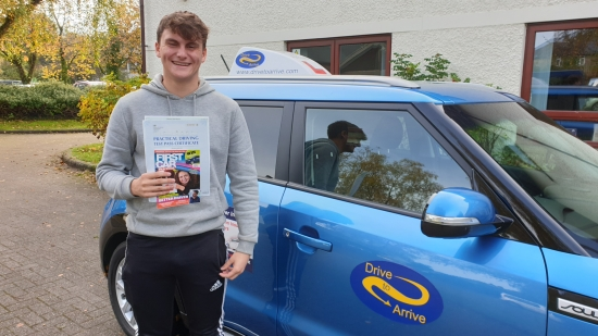 A huge well done to Alex, who passed his test today, first time, with a great drive. Congratulations, stay safe and thanks for choosing Drive to Arrive.