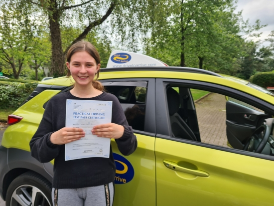 A big well done to Isobel for passing her test today, first time. It´s been a long wait due to lockdowns but you did it with a great drive, congratulations! Enjoy uni, and thanks for choosing Drive to Arrive.
