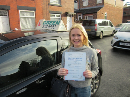 Congratulations. Well Done Hannah. Hannah was always on time, has never missed or cancelled at lesson and came out every week prepared to work towards her test. A well deserved pass.