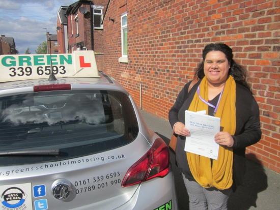 Second first time pass this week for Green School of Motoring.<br />