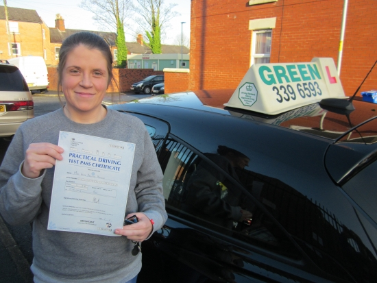 03/01/2020Yet another test pass for Green School of Motoring.Congratulations to Kate Howard who passed her test today with just 2 minors, well done Kate, a student who listened, didn´t cancel and got on with learning to drive, today she achieved her ambition.I have lots of manual spaces available now after a mass exodus of students passing their tests in time for Christmas.