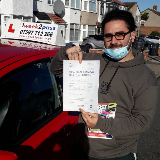 Good to have a 1st time pass just before the lockdown. Ali passed in Enfield and very kindly left a review on on Google for our driving school 'just past my test today ..Neil was so friendly amazing instructor , he knew what he was doing. I cant thank him enough for his great job'