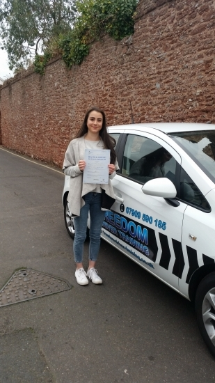 A massive thank you to Julie for helping me pass my test first time for being patient and taking the time to teach me If you are thinking about using freedom driver training to learn with I definitely would recommend Julie