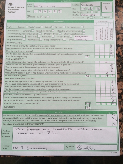 Today i had my driving instructor check test exam all driving instructors have this exam every 2-4 years to make sure the level of instruction meet the national standard I am very pleased to confirm i passed with an A grade