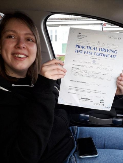 Sarah passed on 11319 with Peter Cartwright Well done
