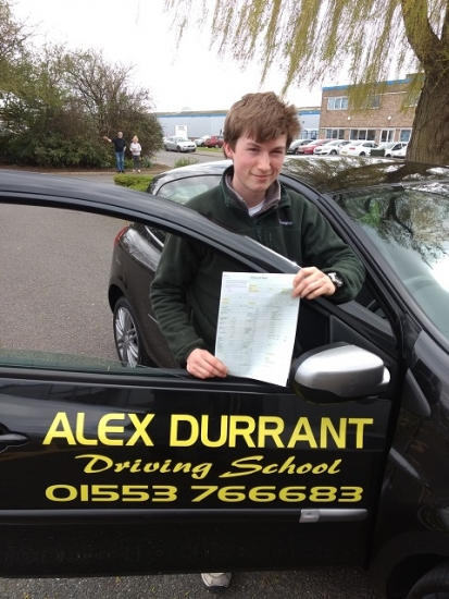 Driving Lessons Kings Lynn - Another Driving Test Pass<br /> <br /> <br /> <br /> We would like to congratulate Tom Cork of Kings Lynn for passing his driving test on Tuesday 17th April. He passed with only 2 driving faults after taking driving lessons Kings Lynn with Alex Durrant Driving School. We wish Tom the best of luck with his driving and for the future.