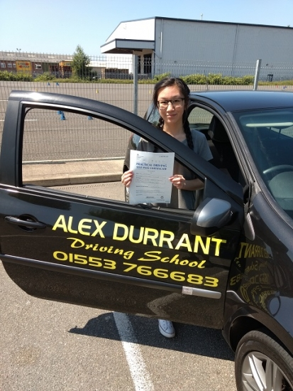Driving Lessons Kings Lynn<br /> <br /> We would like to congratulate Vanessa Yong of Kings Lynn on passing her driving test on Thursday 28th June. She passed with only 5 driving faults after taking driving lessons with Alex Durrant Driving School. We wish Vanessa good luck and safe driving for the future.