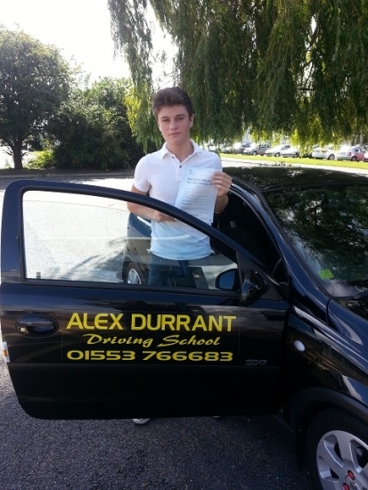 Driving Lessons Kings Lynn. Luke Gray passed his driving test with Alex Durrant driving school.