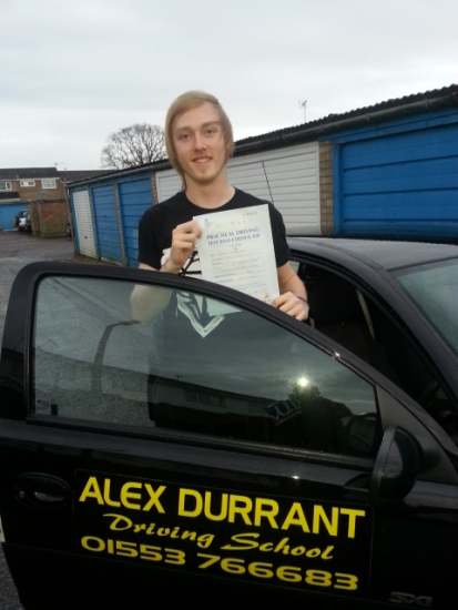 Driving Lessons Kings Lynn. Jordon Lambourne passed his driving test with Alex Durrant driving school.