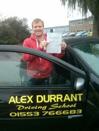 Driving Lessons Kings Lynn. Craig Brown passed his driving test with Alex Durrant driving school.