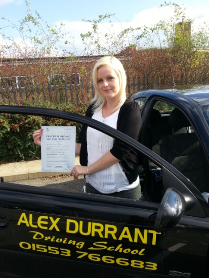 Driving Lessons Kings Lynn. Meg Chapman passed her driving test with Alex Durrant driving school.