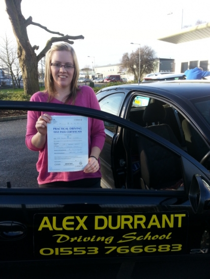Driving Lessons Kings Lynn. Tammy Ellwood passed her driving test with Alex Durrant driving school.