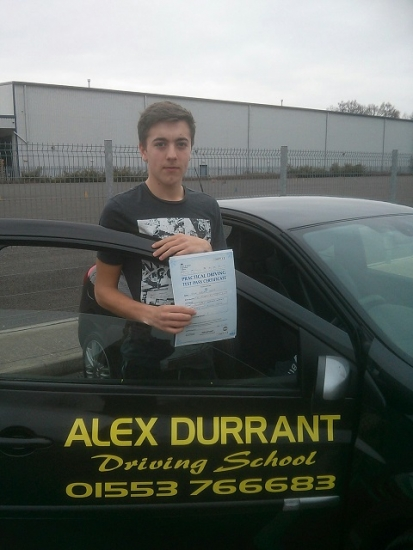 Driving Lessons Kings Lynn. Jack Thorn passed his driving test with Alex Durrant driving school.