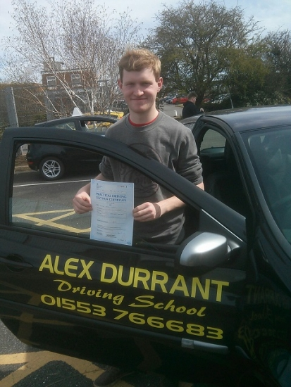 Driving Lessons Kings Lynn. Oliver Groves passed his driving test with Alex Durrant driving school.