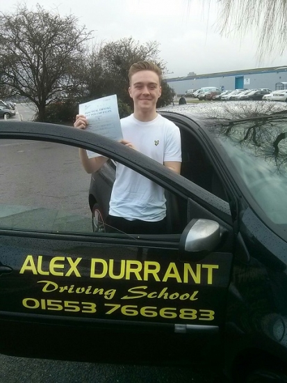 Driving Lessons Kings Lynn. Bradley Lake passed his driving test with Alex Durrant driving school.