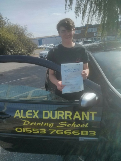 Driving Lessons Kings Lynn. Aaron Walker passed his driving test with Alex Durrant driving school.