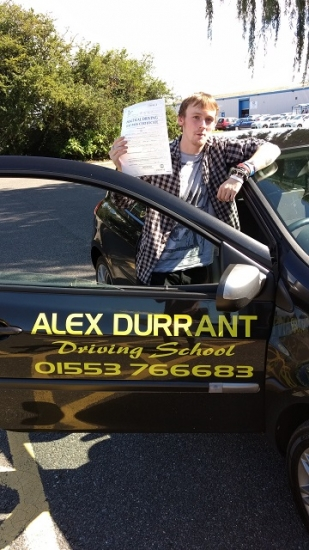 Driving Lessons Kings Lynn. Sam Bowden passed his driving test with Alex Durrant driving school.