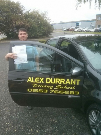 Driving Lessons Kings Lynn. Jamie Goldsmith passed his driving test with Alex Durrant driving school.