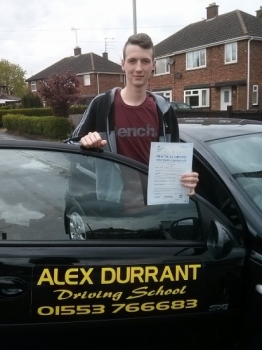 Driving Lessons Kings Lynn. Daniel Shead passed his driving test with Alex Durrant driving school.