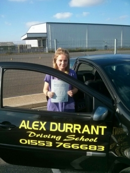 Driving Lessons Kings Lynn. Sophie Caine passed her driving test with Alex Durrant driving school.