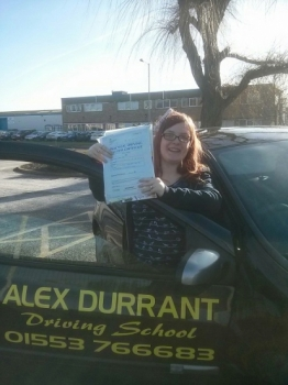 Driving Lessons Kings Lynn. Clare Rye passed her driving test with Alex Durrant driving school.