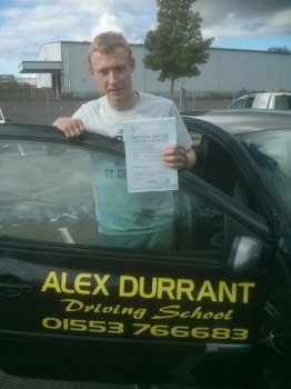 Driving Lessons Kings Lynn. Aaron Keegan passed his driving test with Alex Durrant driving school.
