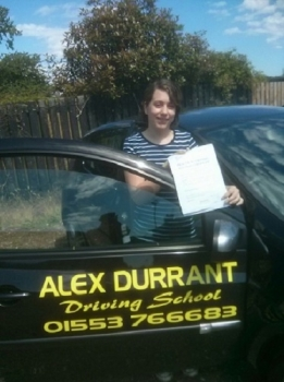 Driving Lessons Kings Lynn. Sophie Newson passed her driving test with Alex Durrant driving school.