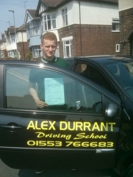 Driving Lessons Kings Lynn. Jacob Medlock passed his driving test with Alex Durrant driving school.
