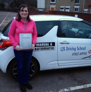 Well done Candice Sears for passing your Practical Driving Test today 10th January a great drive Enjoy your new freedom :- Many thanks for choosing LJS Driving School for your training and safe driving from your instructor Jason Smith