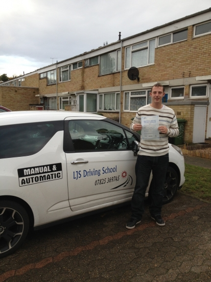 Well done to Matt Holmes for Passing your Practical Driving Test today 18th October A First Time Pass <br /> <br /> A Great Drive Matt Enjoy the family outings :-