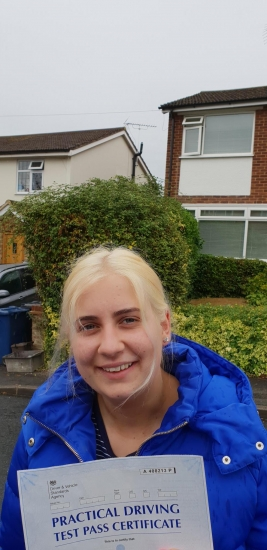 Congratulations Abbie on passing Driving Test on 1st attempt with Jassal Driving School..<br />