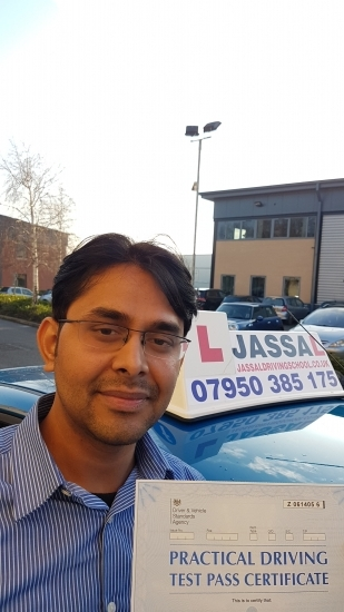Congratulations Dhirendra on passing your Test in Hayes on your 1st attempt with Jassal Driving School<br /> <br />  Sukh is a wonderful driving instructor he taught me the skills I needed to pass my driving test I would recommend Sukh to absolutely everyone as he was so calm and patient with me when I made silly mistakes btw i made few even just before the exam yet he was calm and encouraging which